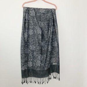 Pashmina Silk Blend Floral Fringe Scarf Gray #4665
